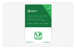 JioSaavn E-Gift Card - Rs. 1 for 3 months subscription